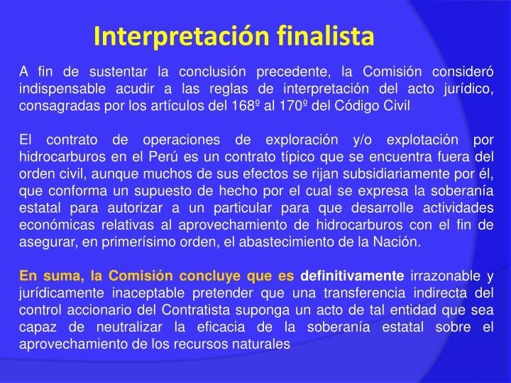 Interpretación finalista