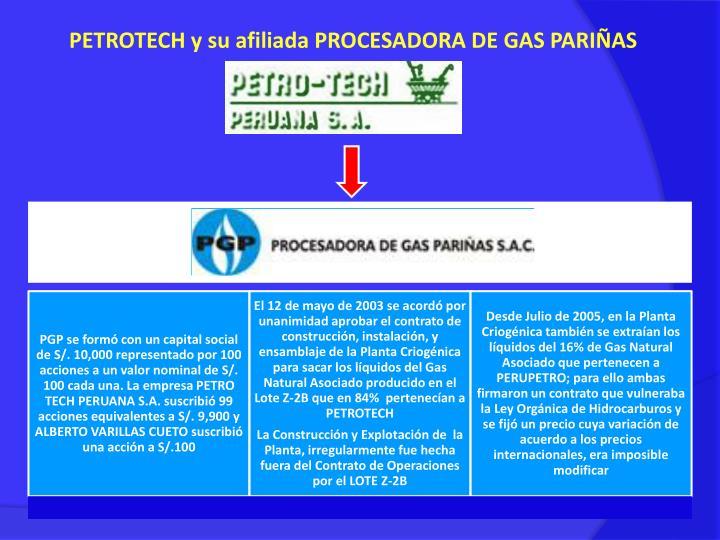 PETROTECH y su afiliada PROCESADORA DE GAS PARIÑAS