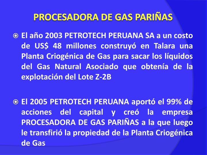 PROCESADORA DE GAS PARIÑAS