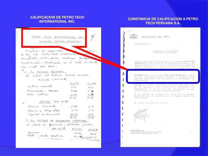 CALIFICACION DE PETRO TECH INTERNATIONAL INC.
