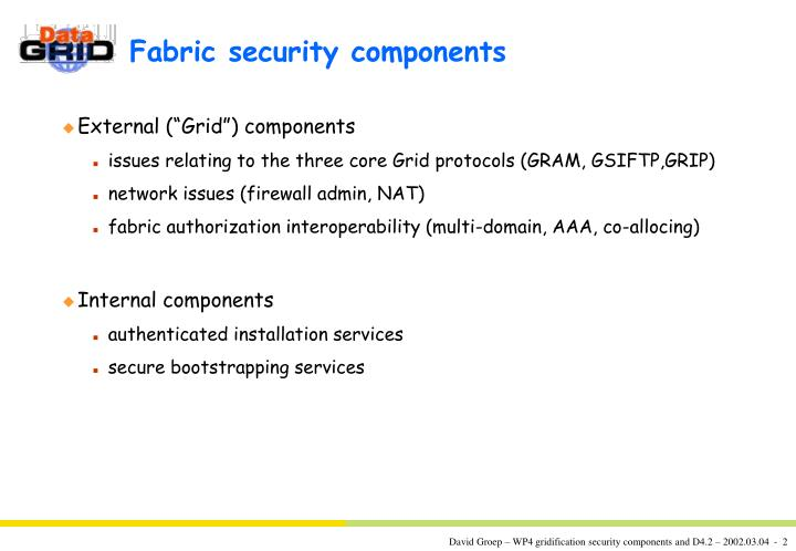 Fabric security components