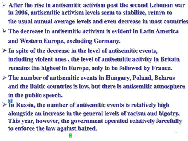 After the rise in antisemitic activism post the second Lebanon war
