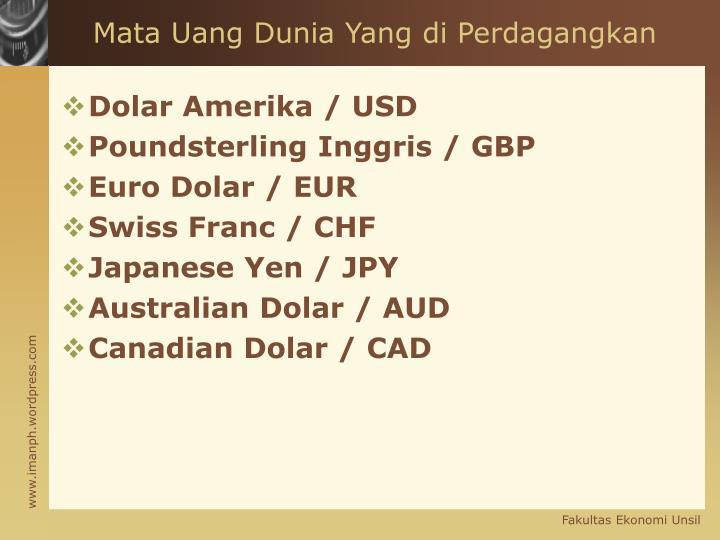 Mata Uang Dunia Yang di Perdagangkan