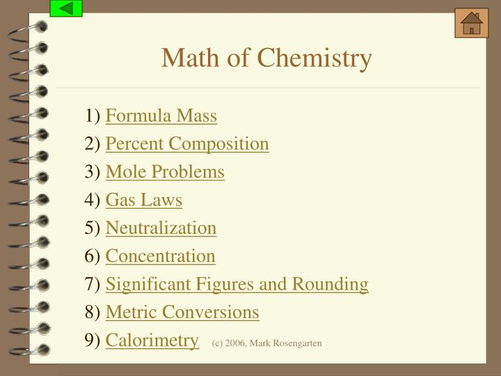 Math of Chemistry