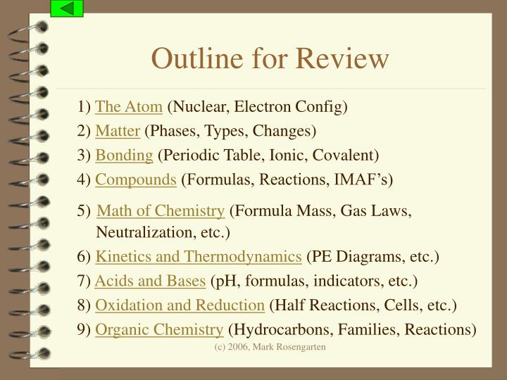 Outline for Review