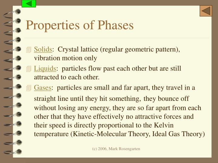 Properties of Phases