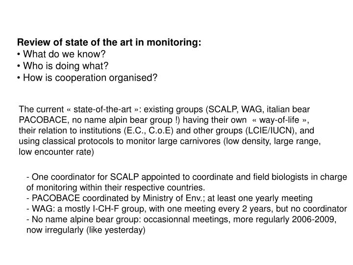 Review of state of the art in monitoring: