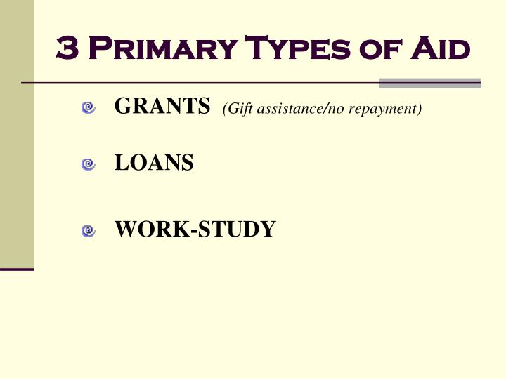 3 Primary Types of Aid