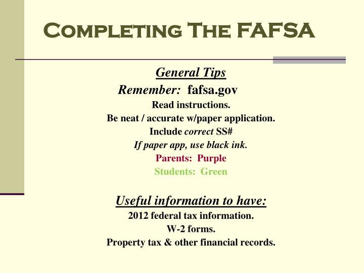 Completing The FAFSA