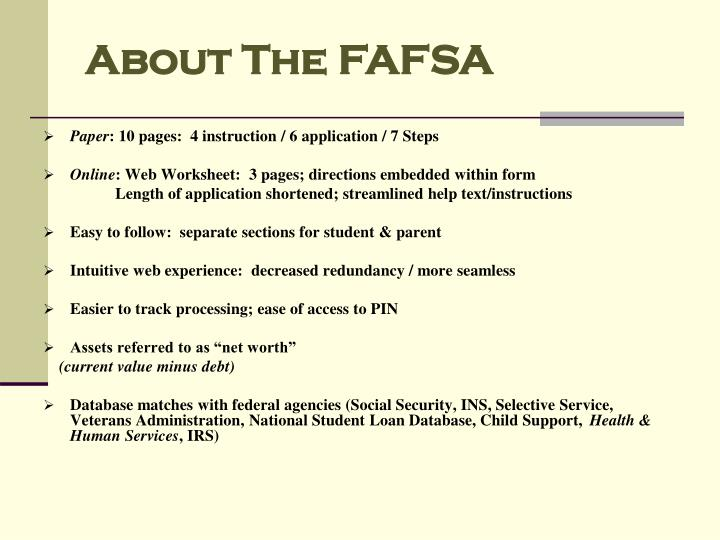 About The FAFSA