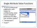 single attribute value functions1