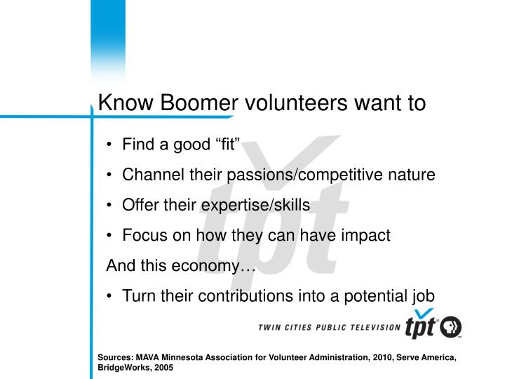 Know Boomer volunteers want to