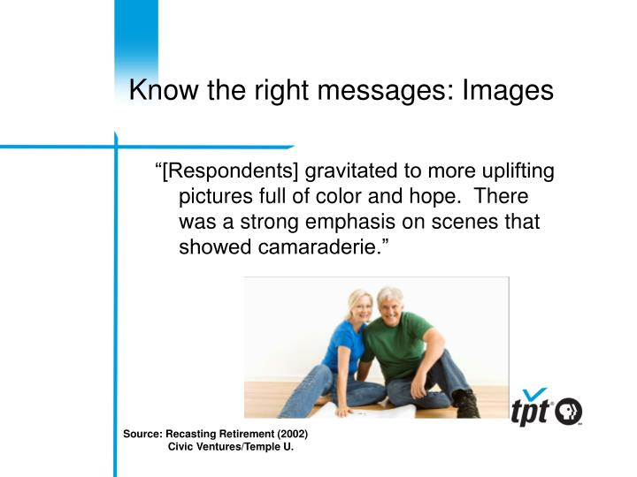 Know the right messages: Images