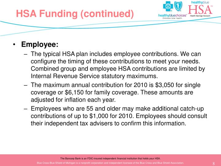 HSA Funding (continued)
