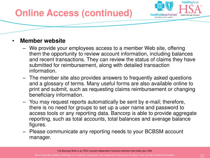 Online Access (continued)