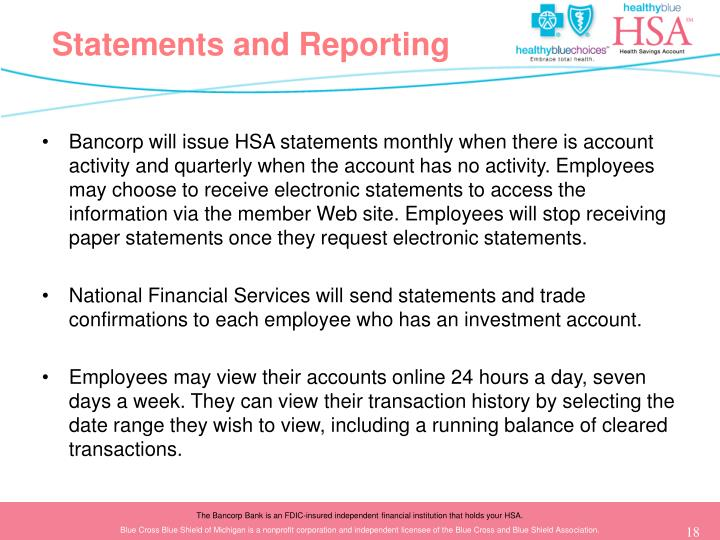 Statements and Reporting