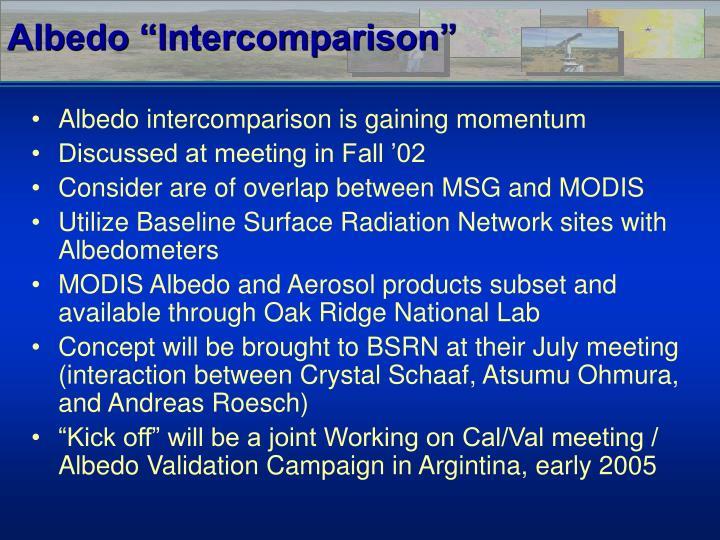 """Albedo """"Intercomparison"""""""