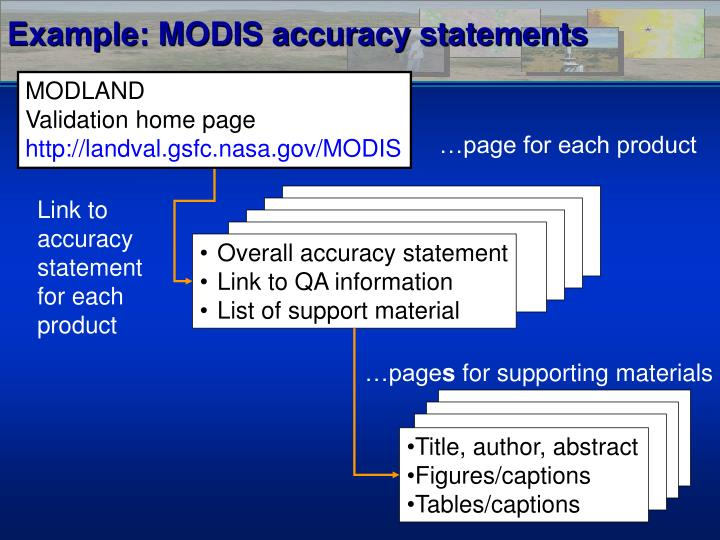 Example: MODIS accuracy statements