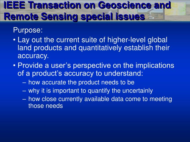 IEEE Transaction on Geoscience and Remote Sensing special issues