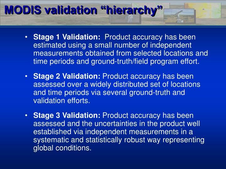 """MODIS validation """"hierarchy"""""""