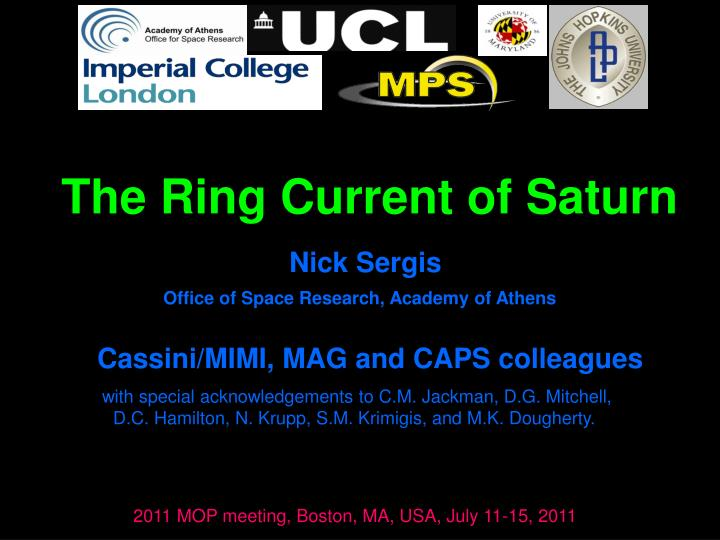 The Ring Current of Saturn
