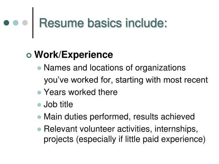 Work/Experience