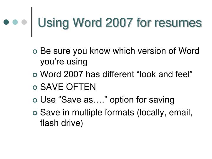 Using Word 2007 for resumes