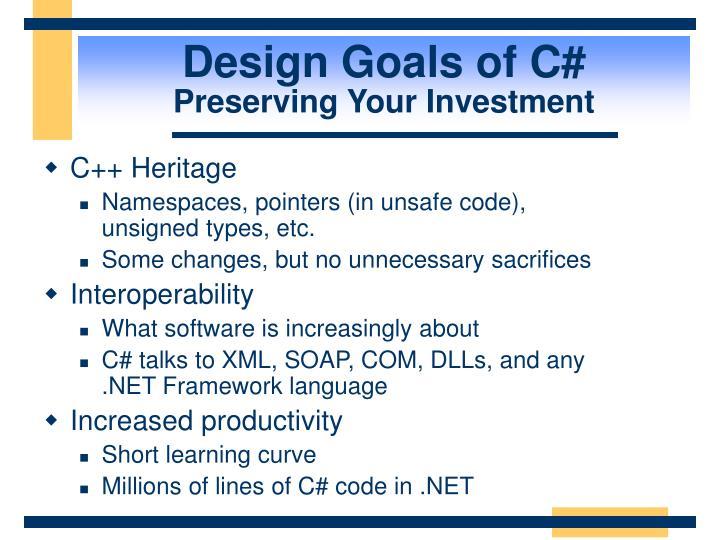 Design Goals of C#