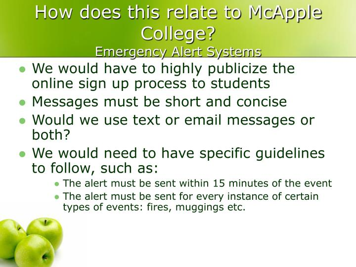 How does this relate to McApple College?