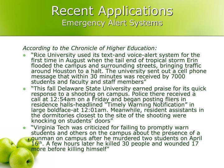 Recent Applications