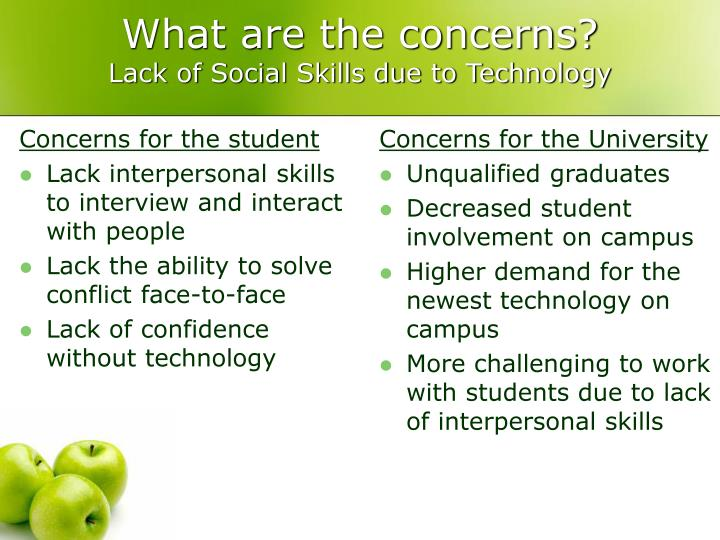 Concerns for the student