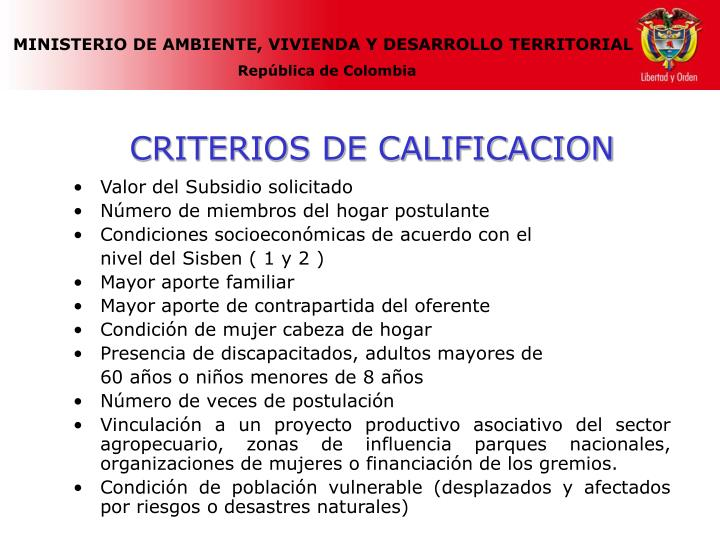 CRITERIOS DE CALIFICACION
