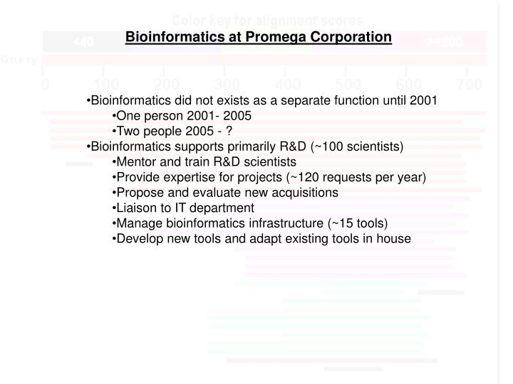 Bioinformatics at promega corporation1