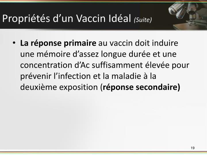 Propriétés d'un Vaccin Idéal