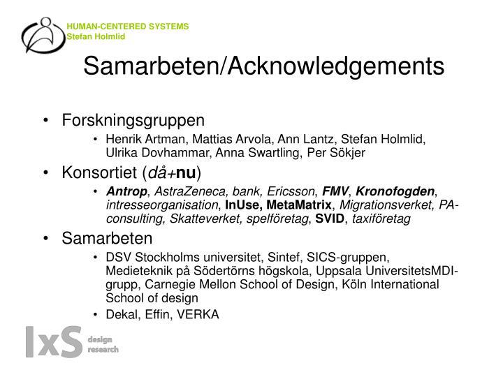 Samarbeten/Acknowledgements