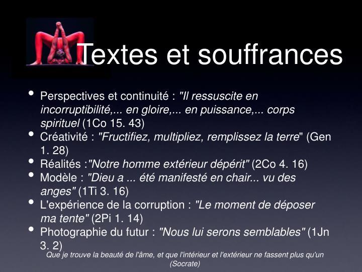 Textes et souffrances