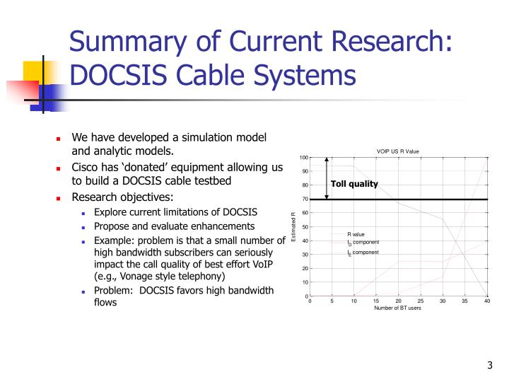 Summary of current research docsis cable systems