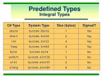 predefined types integral types
