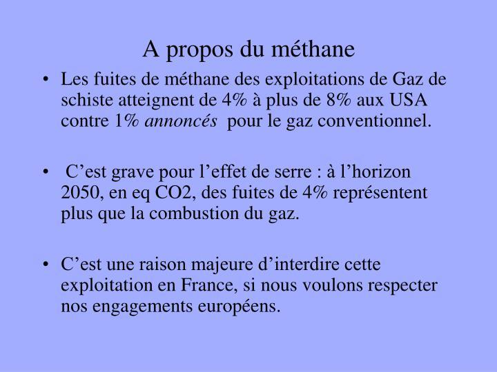 A propos du méthane