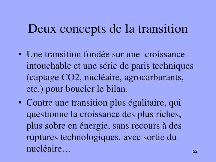 Deux concepts de la transition