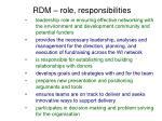 rdm role responsibilities