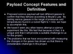 payload concept features and definition