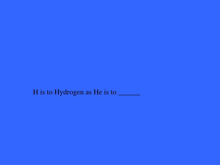 H is to Hydrogen as He is to ______
