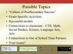 possible topics