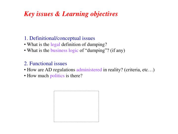 1. Definitional/conceptual issues