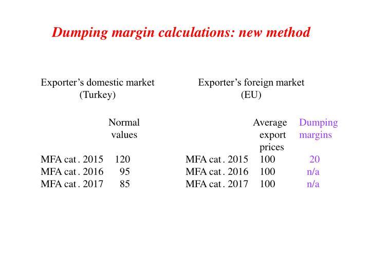 Dumping margin calculations: new method
