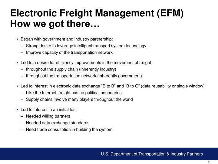 Electronic freight management efm how we got there