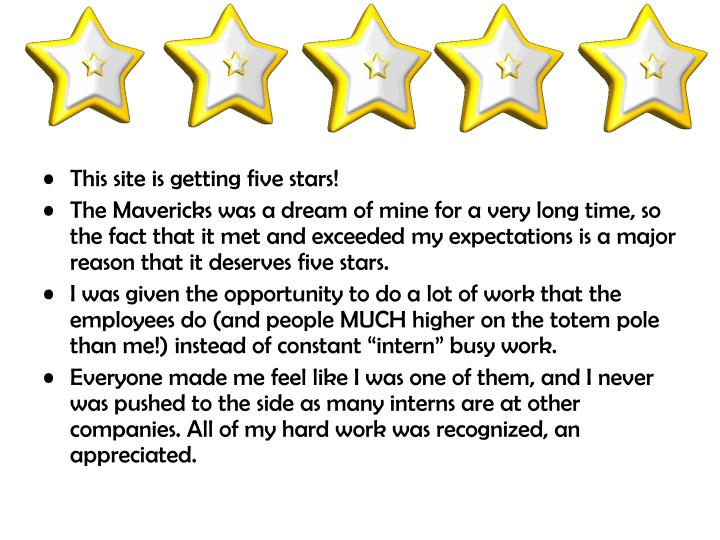 This site is getting five stars!