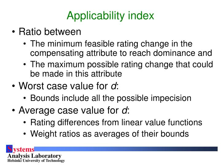 Applicability index