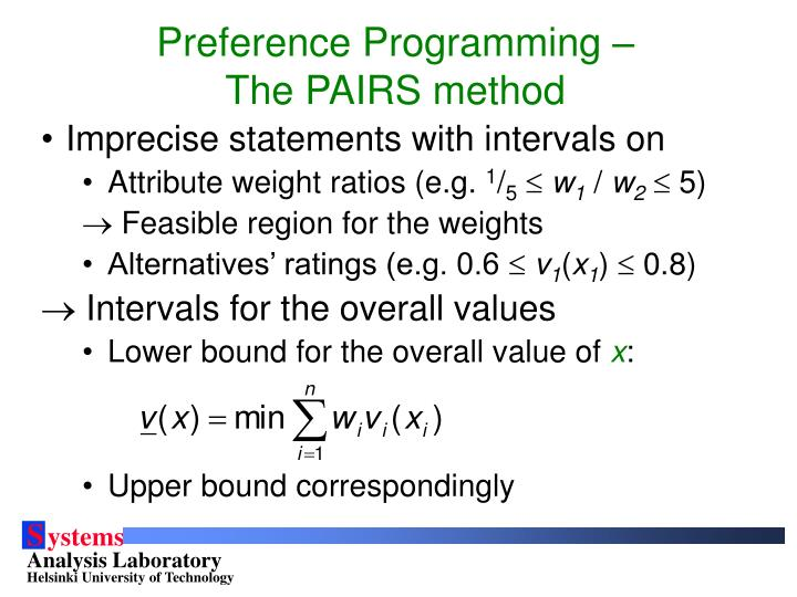 Preference Programming – The PAIRS method